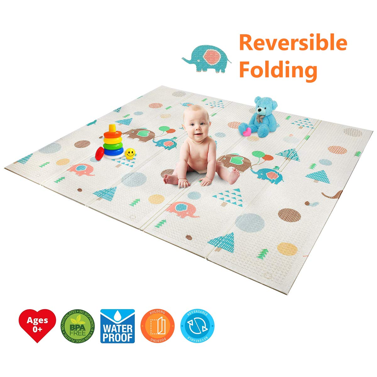 "Baby Play Mat | BPA Free Non-Toxic Foam Folding Baby Care Playmat 78.7"" x 70.8 0.4"" Thick Extra Large Reversible Crawling Mat Portable Toddlers Kids Waterproof Non-Slip Outdoor (Love of Elphant) Forstart ML-A02PAN-PM05"