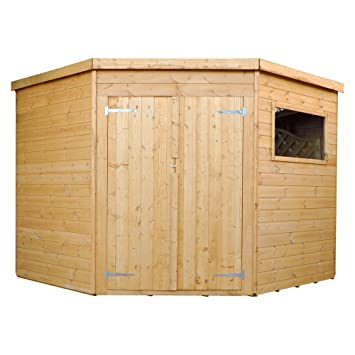 Green Planet - 8x8 Wooden Shiplap Corner Shed, Garden Storage Unit