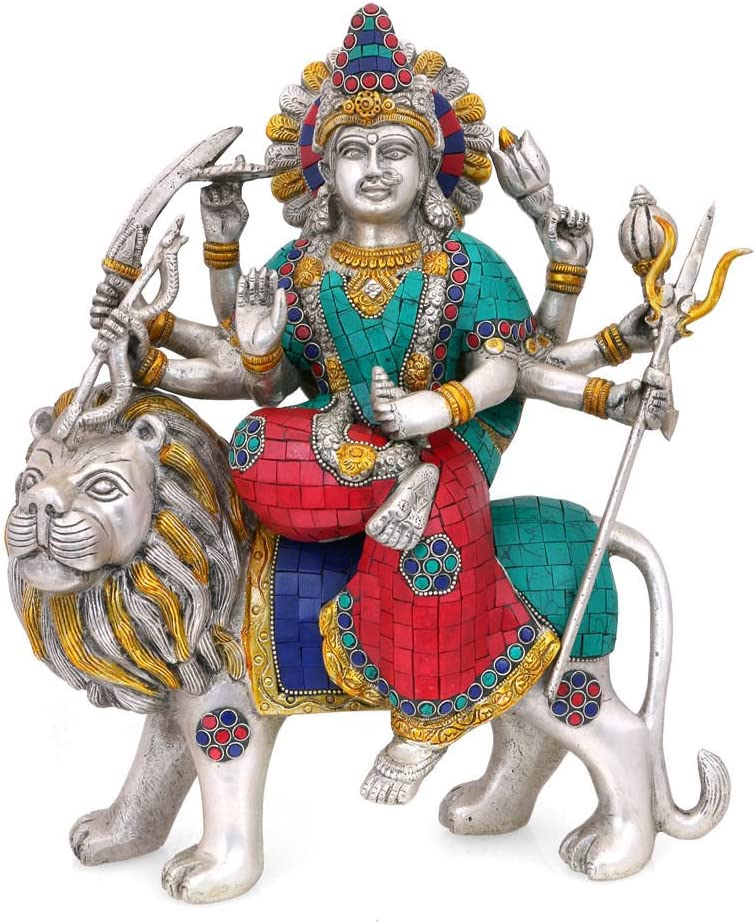 CraftVatika 1 ft Goddess Durga Statue Brass Silver Polish Sculpture Hindu Goddess Durga with Lion Large Brass Figurines
