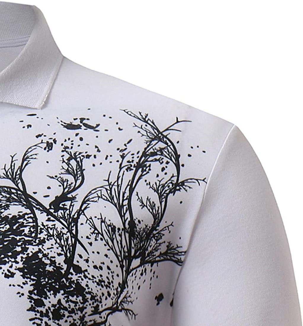 Godathe Mens Summer Patchwork Casual Stand Collar Slim Fit Short Sleeve Top Blouse Tee