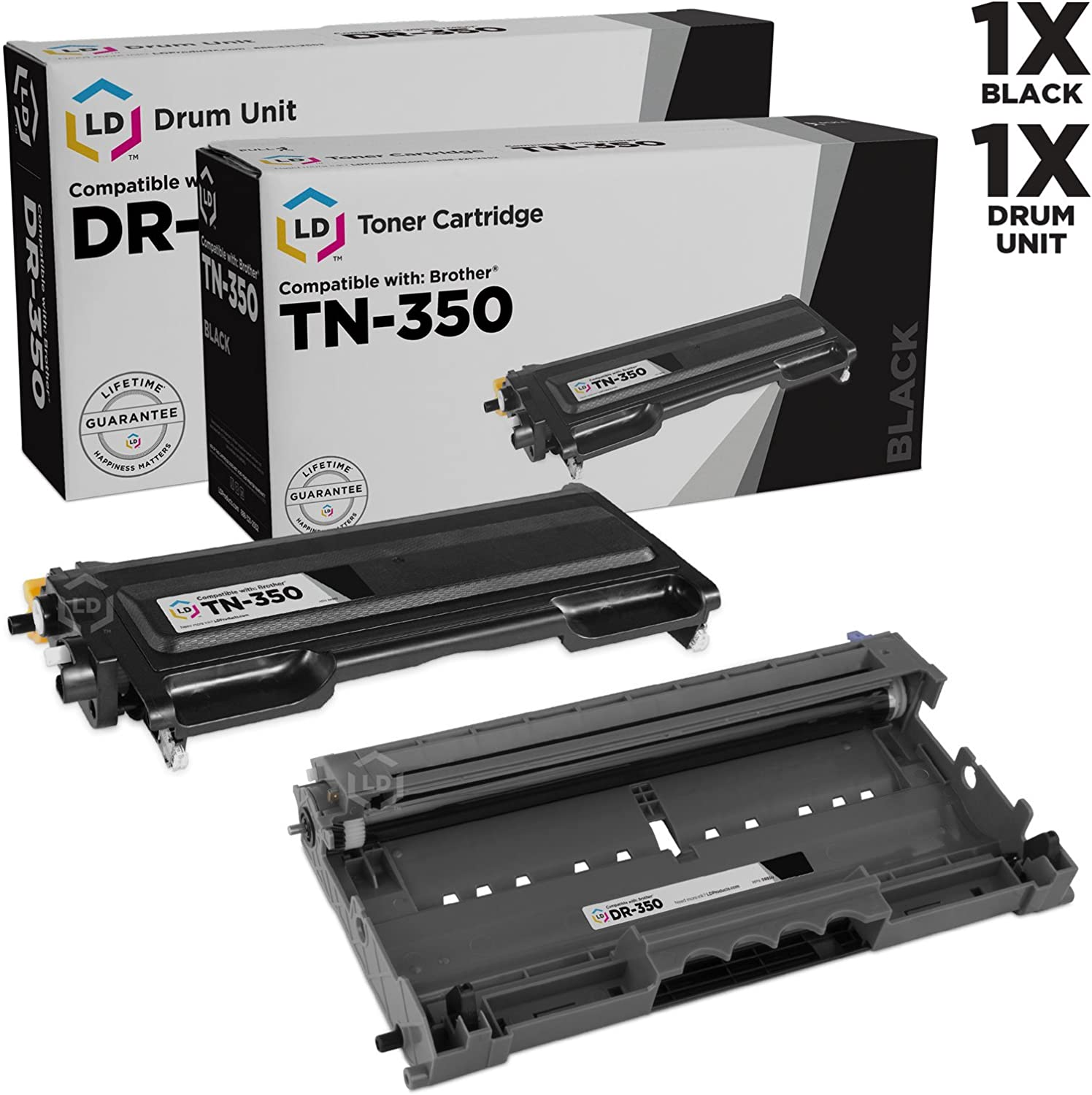 LD Compatible Toner Cartridge & Drum Unit Replacements for Brother TN350 & DR350 (1 Toner, 1 Drum, 2-Pack)