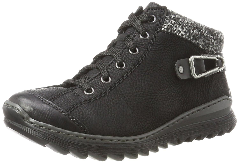 Rieker M6238, Zapatillas Altas para Mujer 37 EU|Negro (Schwarz/Schwarz/Grey/Schwarz)