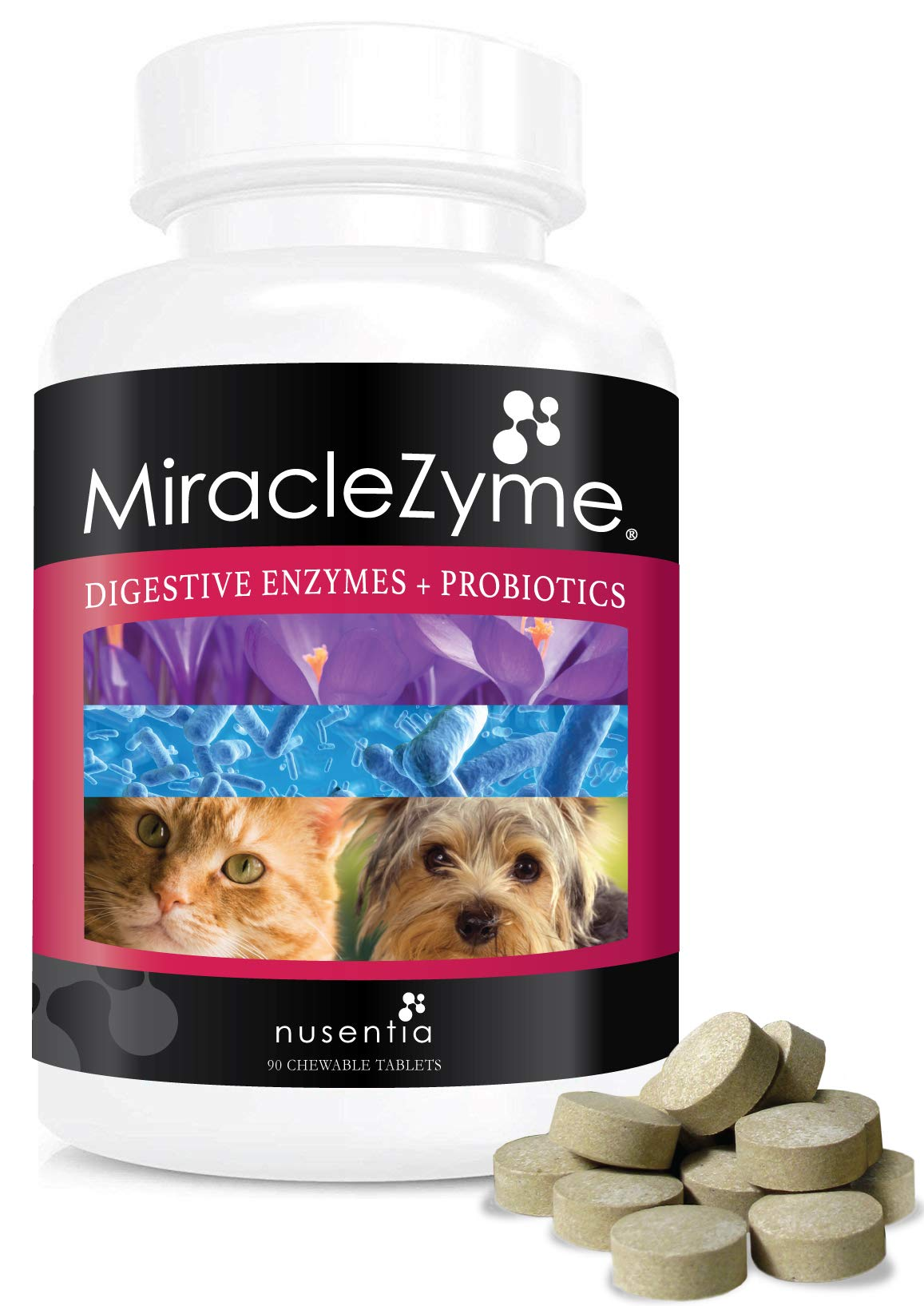 Probiotics for Dogs with Enzymes -Chewables (90ct) -Cats and Dog Tablets-Complete Digestive Remedy for Pets, Controls Gas, Loose Stool, Diarrhea, and More. Great Taste Dogs and Cats Love. Made in USA. by NUSENTIA