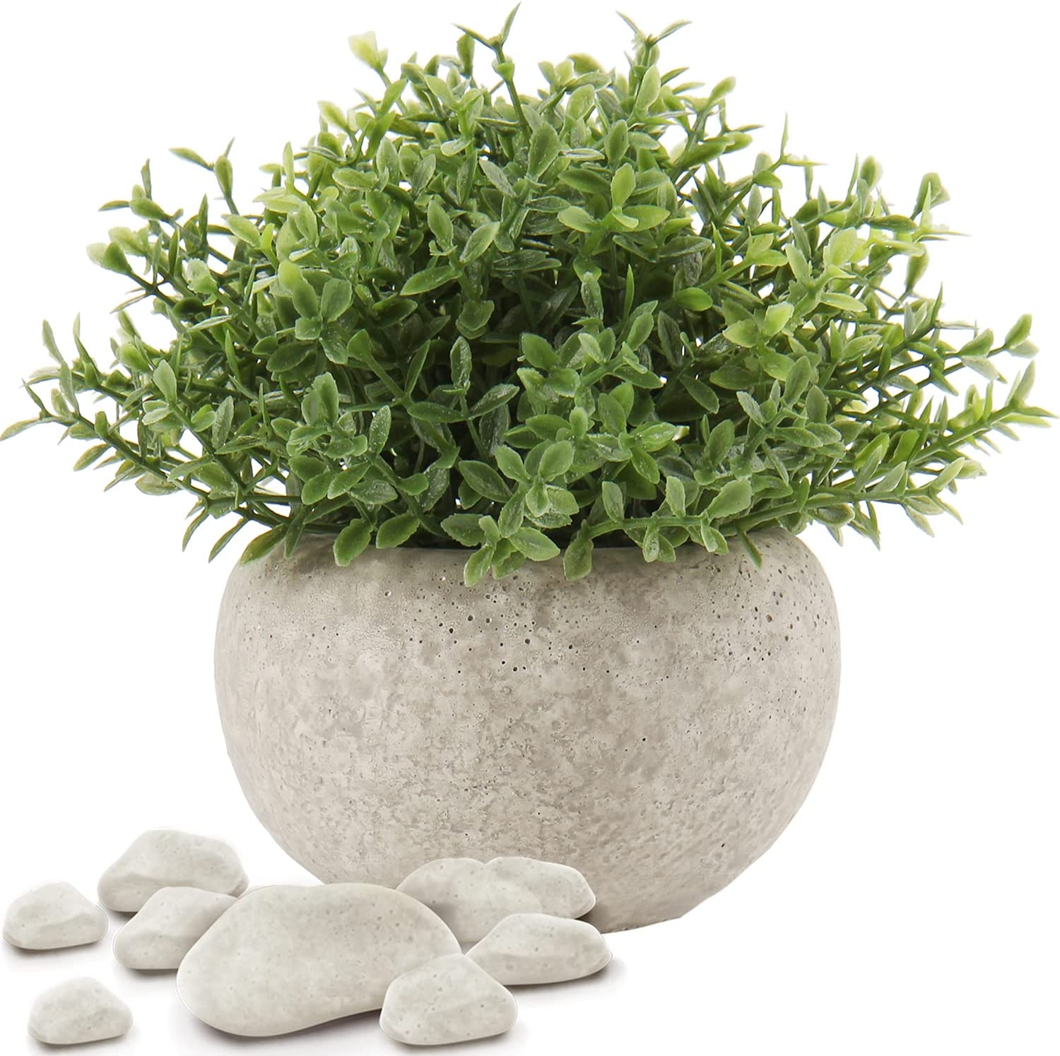 Artificial Mini Potted Plants Faux Plants Indoor Fake Green Grass Small Plastic Greenery Topiary Shrubs Plant with Cement Pots for Home Office Desk Bathroom Shelf Decor