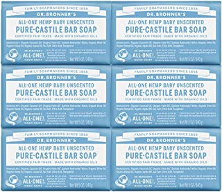 product image for Dr. Bronner's - Pure-Castile Bar Soap (Baby Unscented, 5 ounce, 6-Pack) - Made with Organic Oils, For Face, Body and Hair, Gentle for Sensitive Skin and Babies, No Added Fragrance, Biodegradable