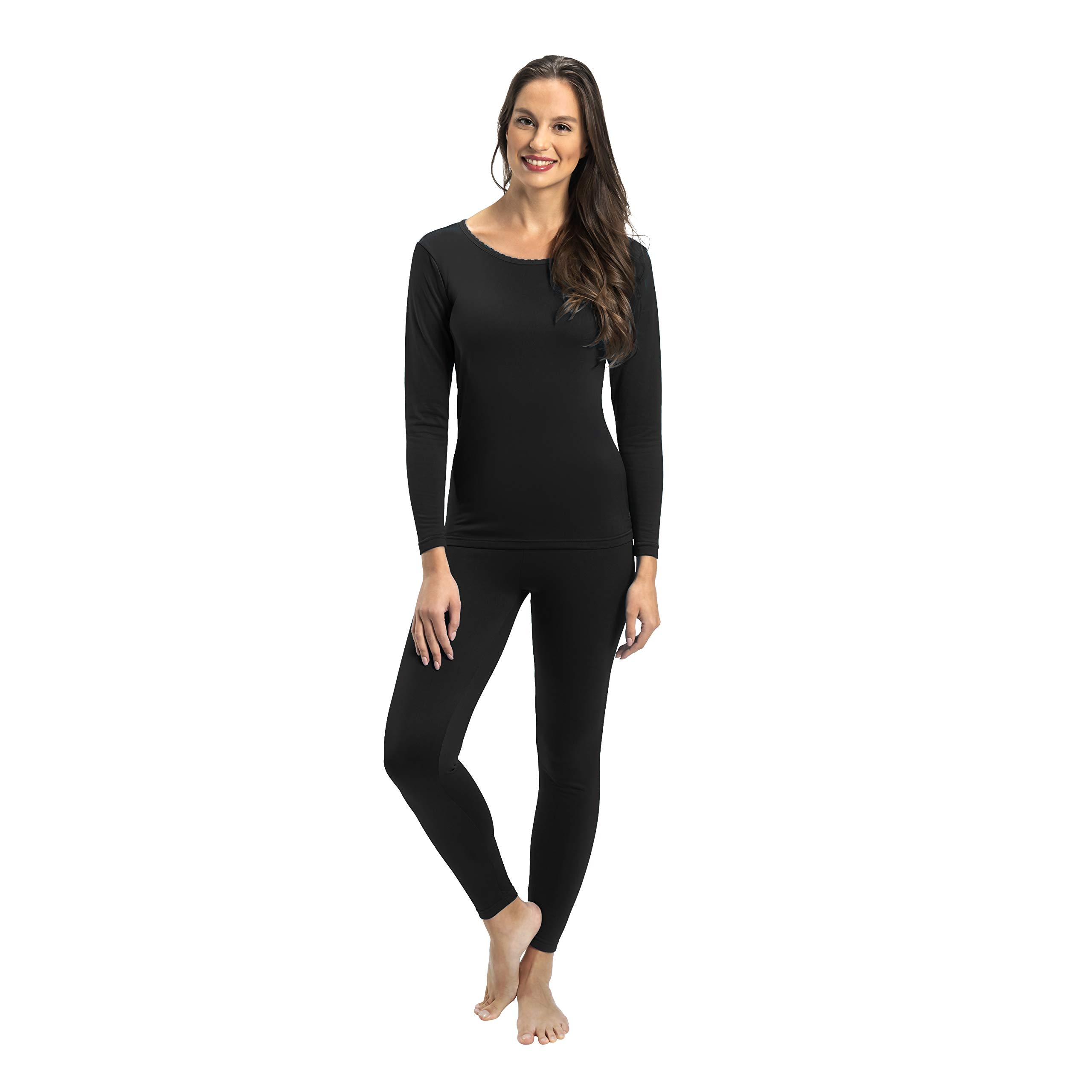 Rocky Womens Thermal 2 Pc Long John Underwear Set Top and Bottom Smooth Knit (3Xlarge, Black) by Rocky