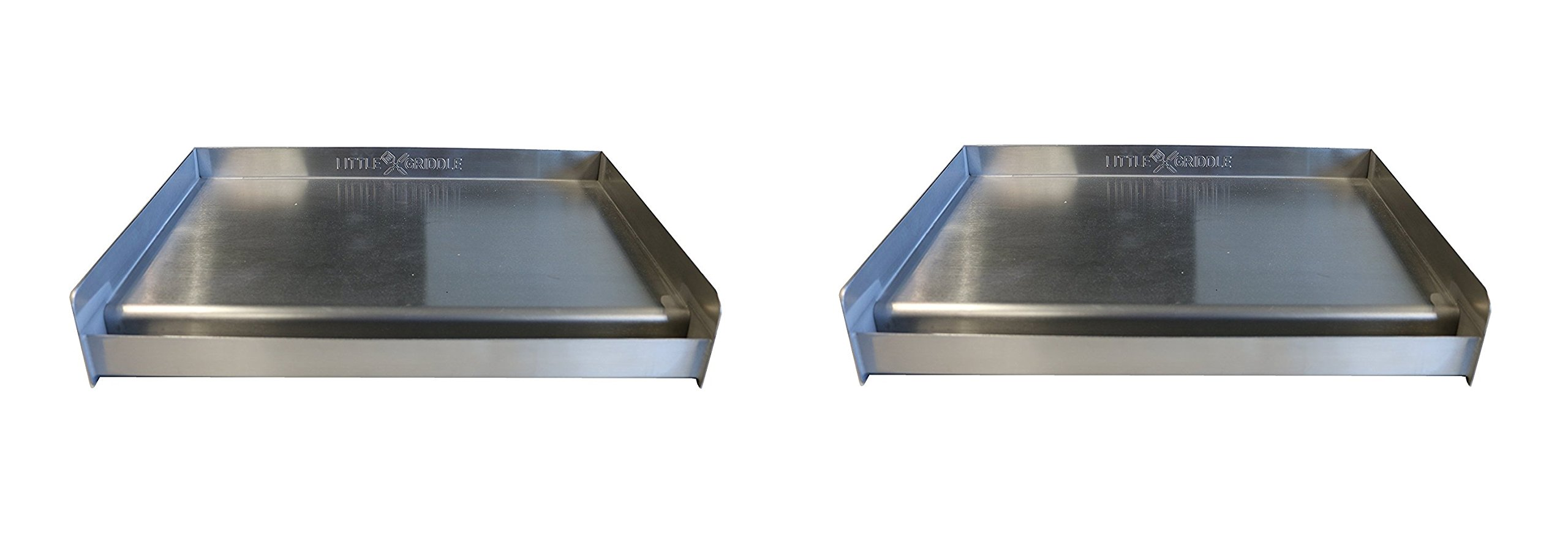 Little Griddle SQ180 Universal Griddle for BBQ Grills, Stainless (Formerly the Sizzle-Q) (Pack of 2) by Little Griddle (Image #1)