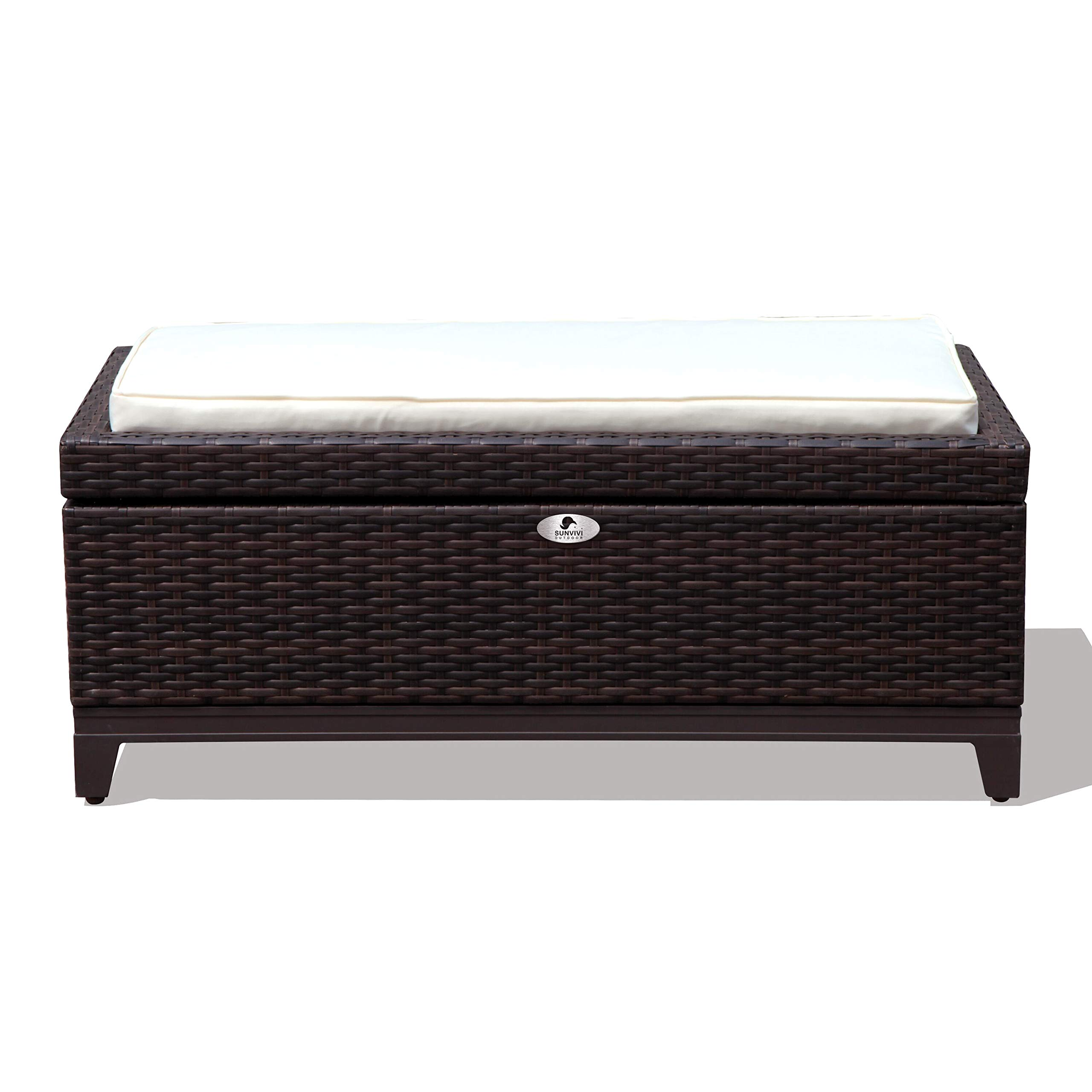 Sunvivi Outdoor Wicker Deck Storage Box for Cushions, Pillows, Pool Accessories, Ottoman Bench Aluminum Frame with Seat Cushion, Perfect Additional to Furniture Set - Espresso Brown
