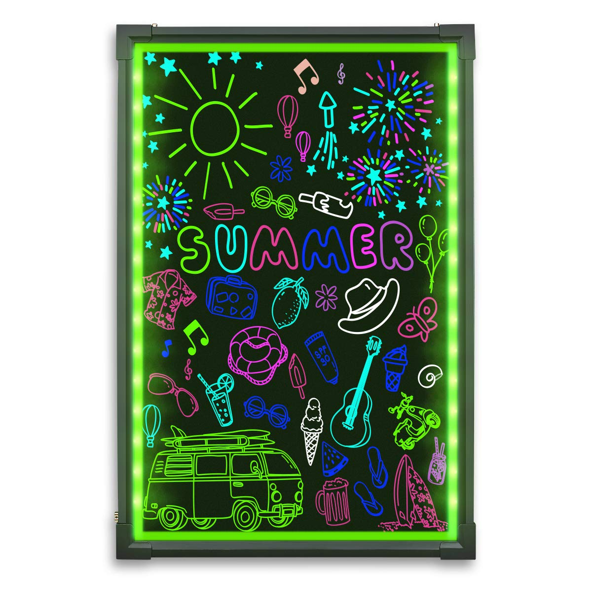 Hosim LED Message Writing Board, 24'' x 16'' Illuminated Erasable Neon Effect Restaurant Menu Sign with 8 Colors Markers, 7 Colors Flashing Mode DIY Message Chalkboard for Kitchen Wedding Promotions by Hosim