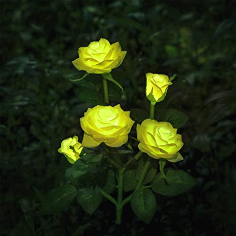 Luces LED decorativas para exteriores con diseño de rosas solares, para jardín, patio,