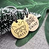 YiXiEr Cute Custom Pet ID Tags, Dog Tag and Cat Tag Personalized Engraved Double Sided - Round Stainless Steel