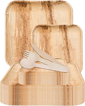 | Ecofriendly Disposable Dinnerware CaterEco 4.25-inch Square Palm Leaf Bowl Set Heavy Duty Biodegradable Party Utensils for Wedding 100 Pieces Pack Camping /& More
