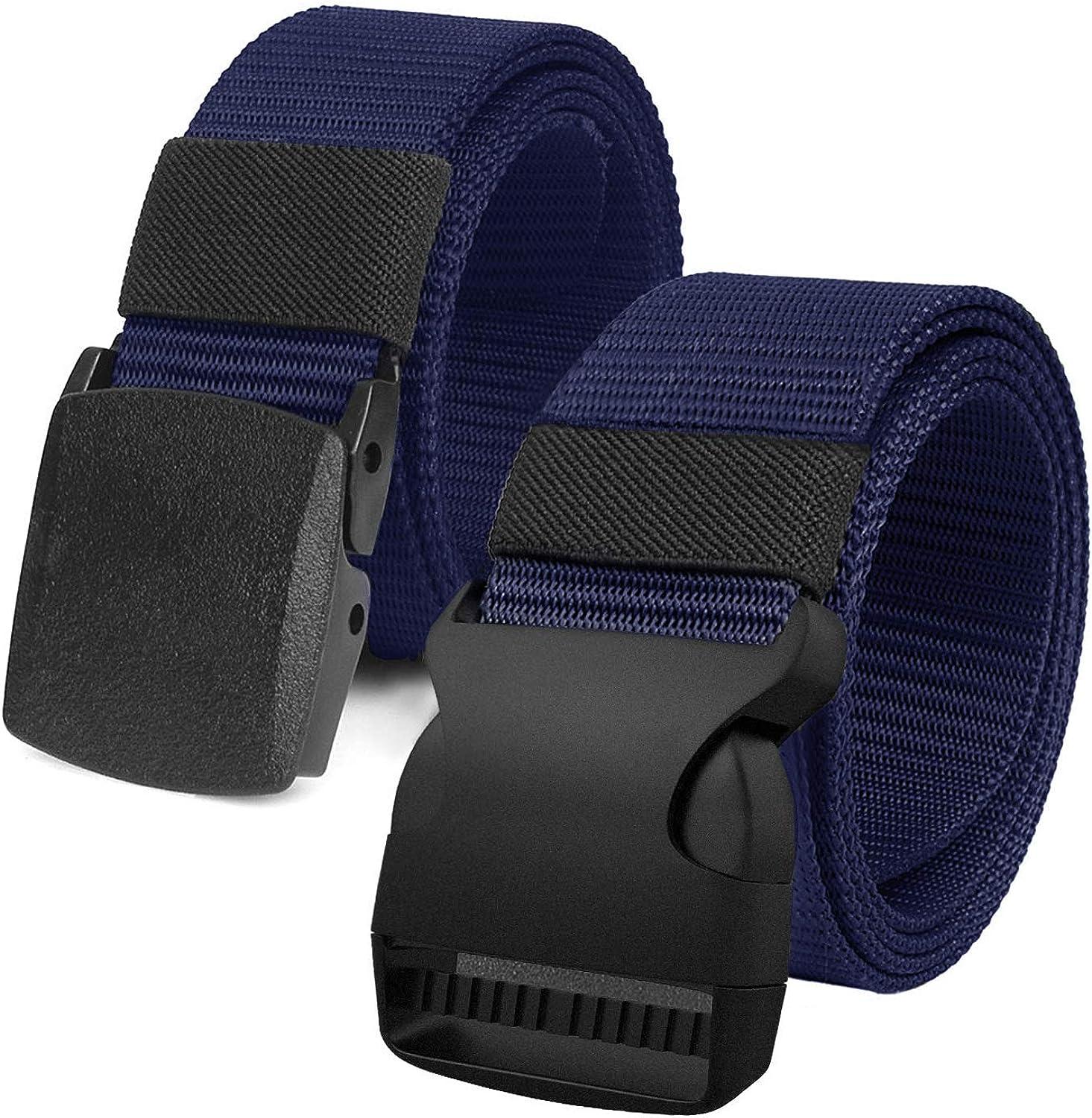 Justay 2 pack Cinture Uomo in Tela in Stile Militare 1.5 Tessuto in Nylon Cintura Uomo con Fibbia