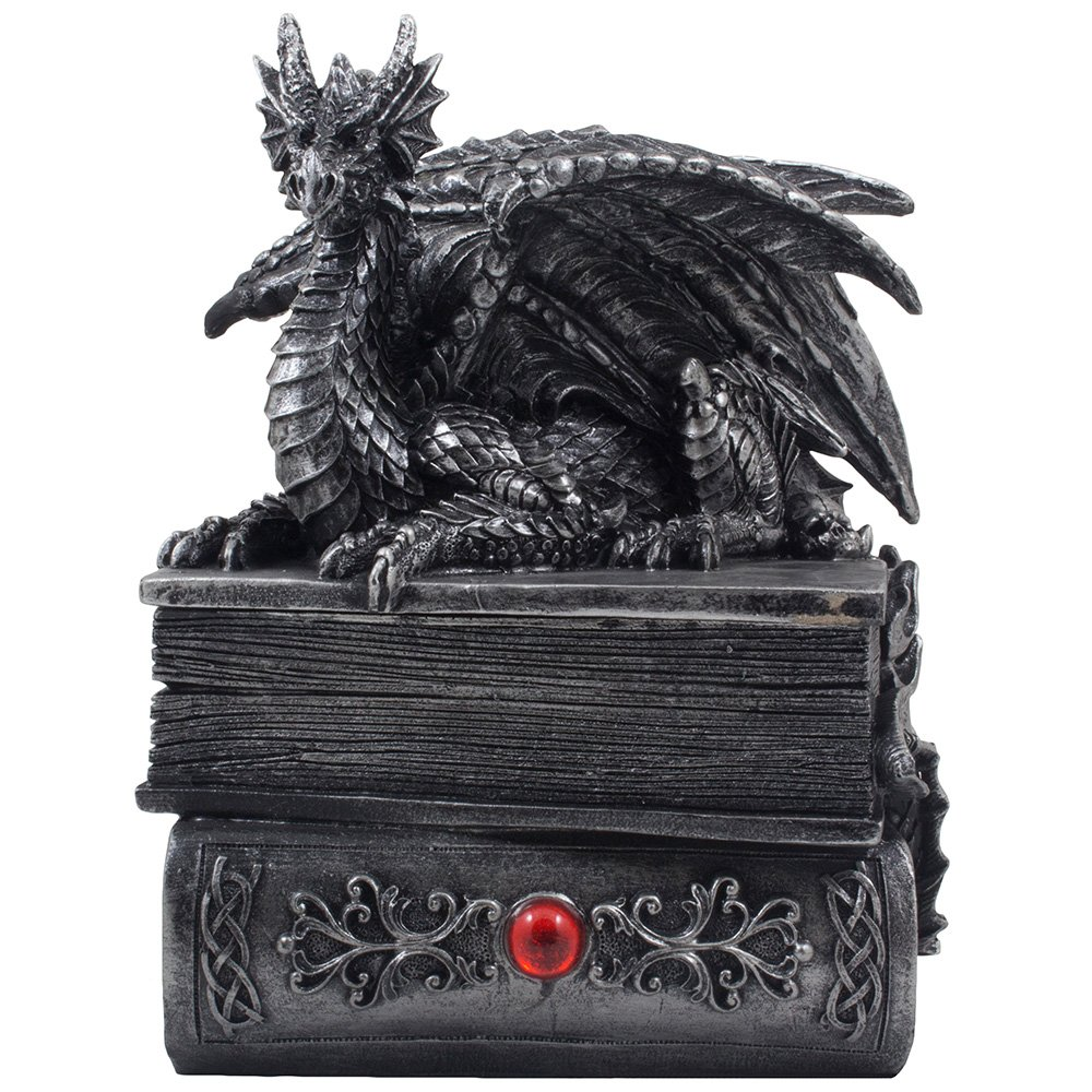 Mythical Guardian Dragon Trinket Box Statue With Hidden Book Storage Compartment For Decorative Gothic Medieval