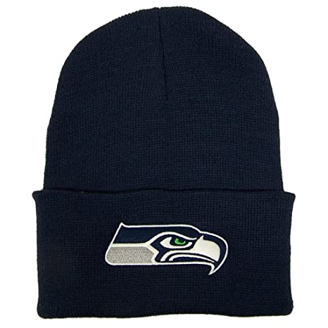 5d588590701 Image Unavailable. Image not available for. Color  Seattle Seahawks Cuffed  Embroidered Logo Winter Knit Hat ...