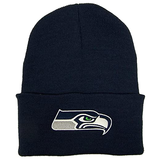 a754d50c Seattle Seahawks Cuffed Embroidered Logo Winter Knit Hat - Navy