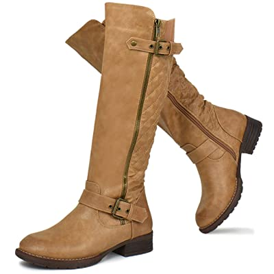 Prime Shoes - Women's Knee High Western Flat Riding Boots with Buckle Straps - Sexy Knee High Boot - Easy Heel | Knee-High