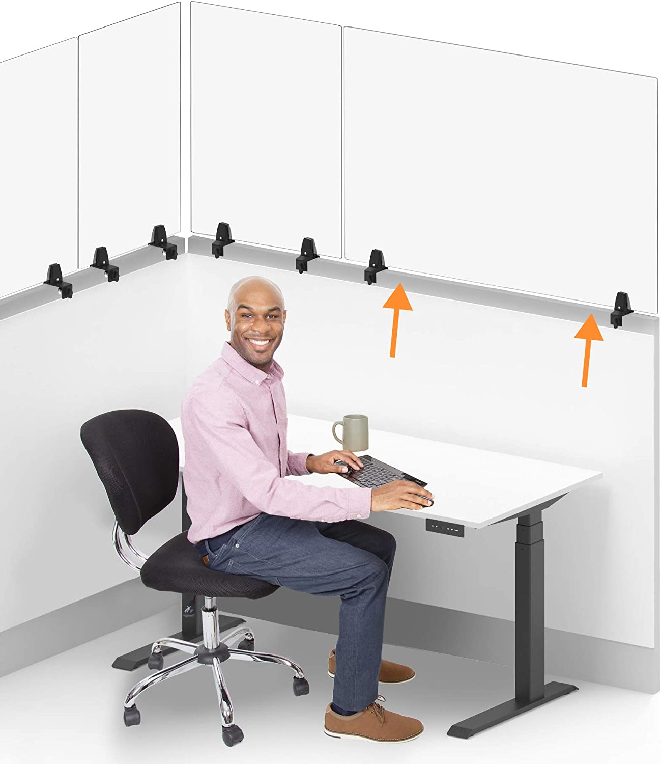 Stand Steady Clear Cubicle Wall Extender | Single 48 in x 30 in Panel | Clamp On Acrylic Shield & Sneeze Guard | Portable Desk Divider for Desk Walls & Cubicles | for Offices, Libraries & More
