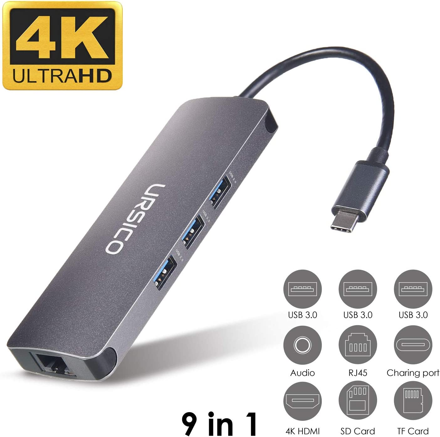 URSICO Hub USB C 9 En 1, Tipo C Adaptador con 4K HDMI, Ethernet Rj45, 3 USB 3.0, Mic/Audio, PD...