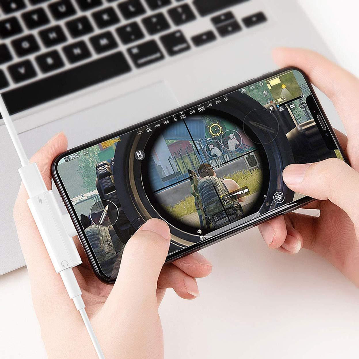 Adaptateur pour /écouteurs pour iPhone 8Plus 7Plus 8 /écouteurs 3,5 mm Jack C/âble AUX Adaptateur Audio Musique et convertisseur PowerJack Dongle C/âble pour Casque pour iPhone 7 XS Max