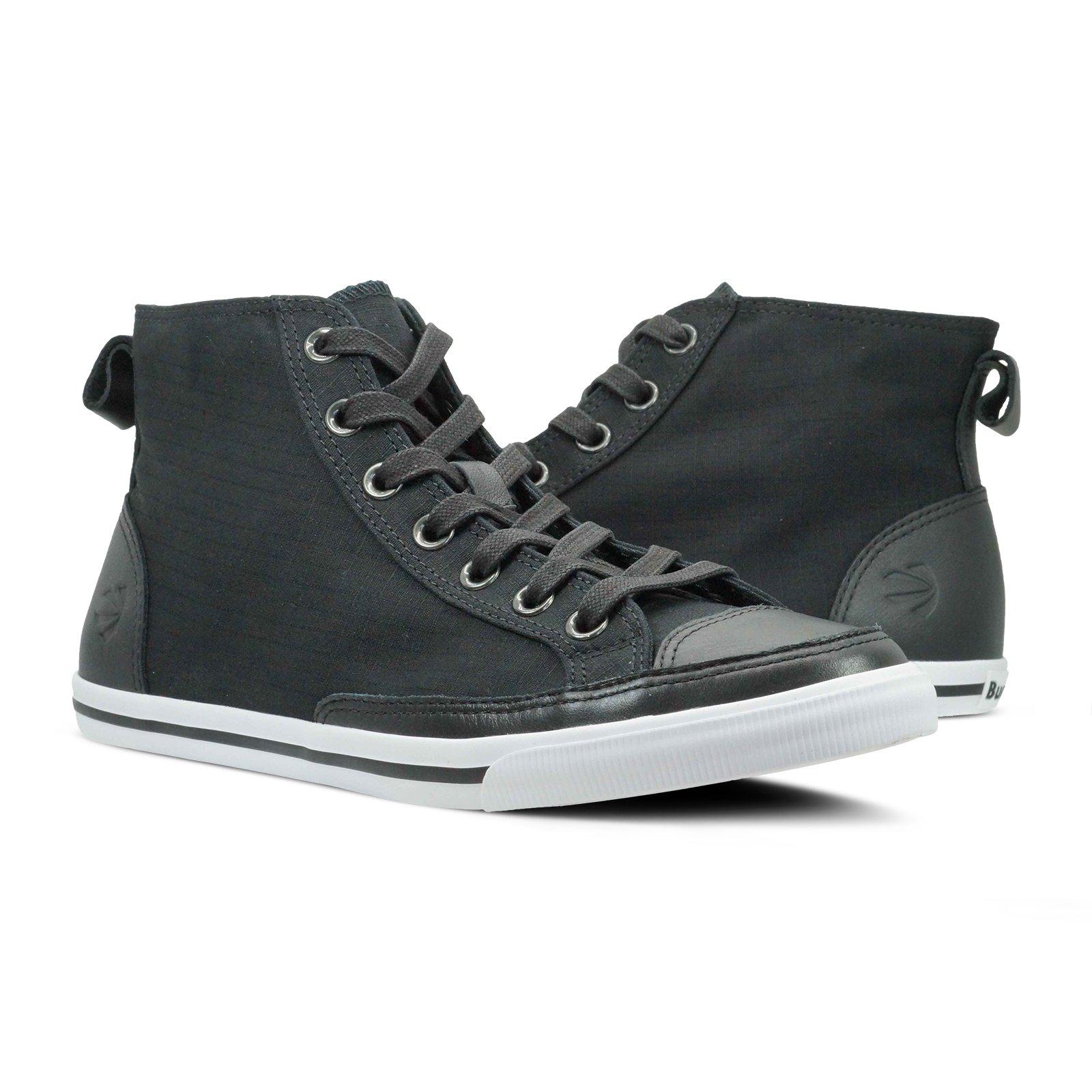 Burnetie Men's Black Solid Plaid High Top Vintage Sneaker 10 M US