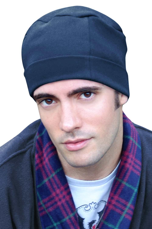 Headcovers Unlimited Mens Sleep Cap - 100% Cotton Night Cap for Men - Sleeping Hat Regatta Blue