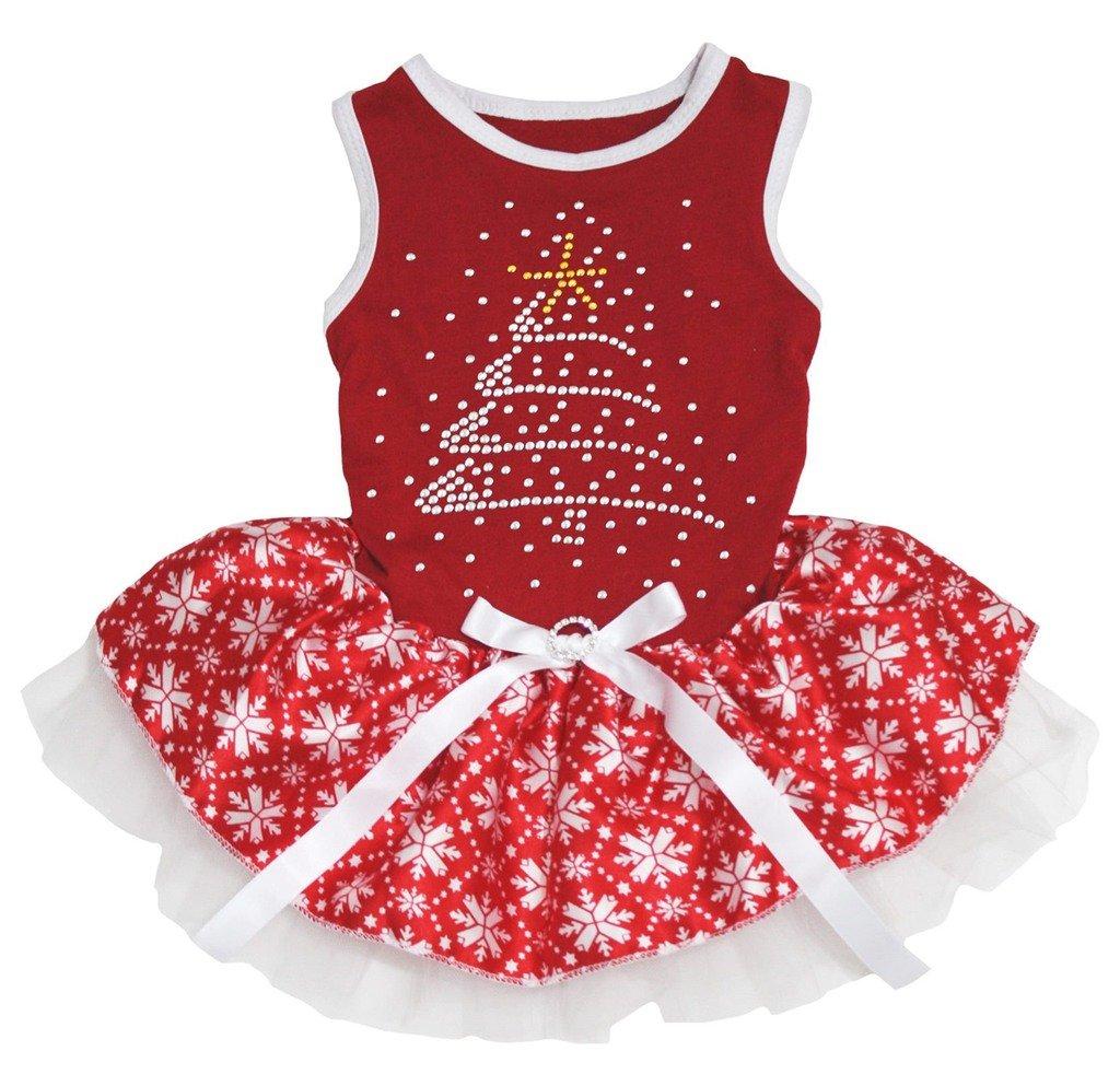 Petitebella Rhinestone Christmas Tree Red Shirt Snowflake Tutu Puppy Dog Dress (Small)