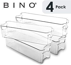BINO Stackable Plastic Organizer Storage Bins, Small - 4 Pack - Pantry Organization and Storage Refrigerator Organizer Bins Fridge Organizer Freezer Organizer Pantry Organizer Pantry Storage