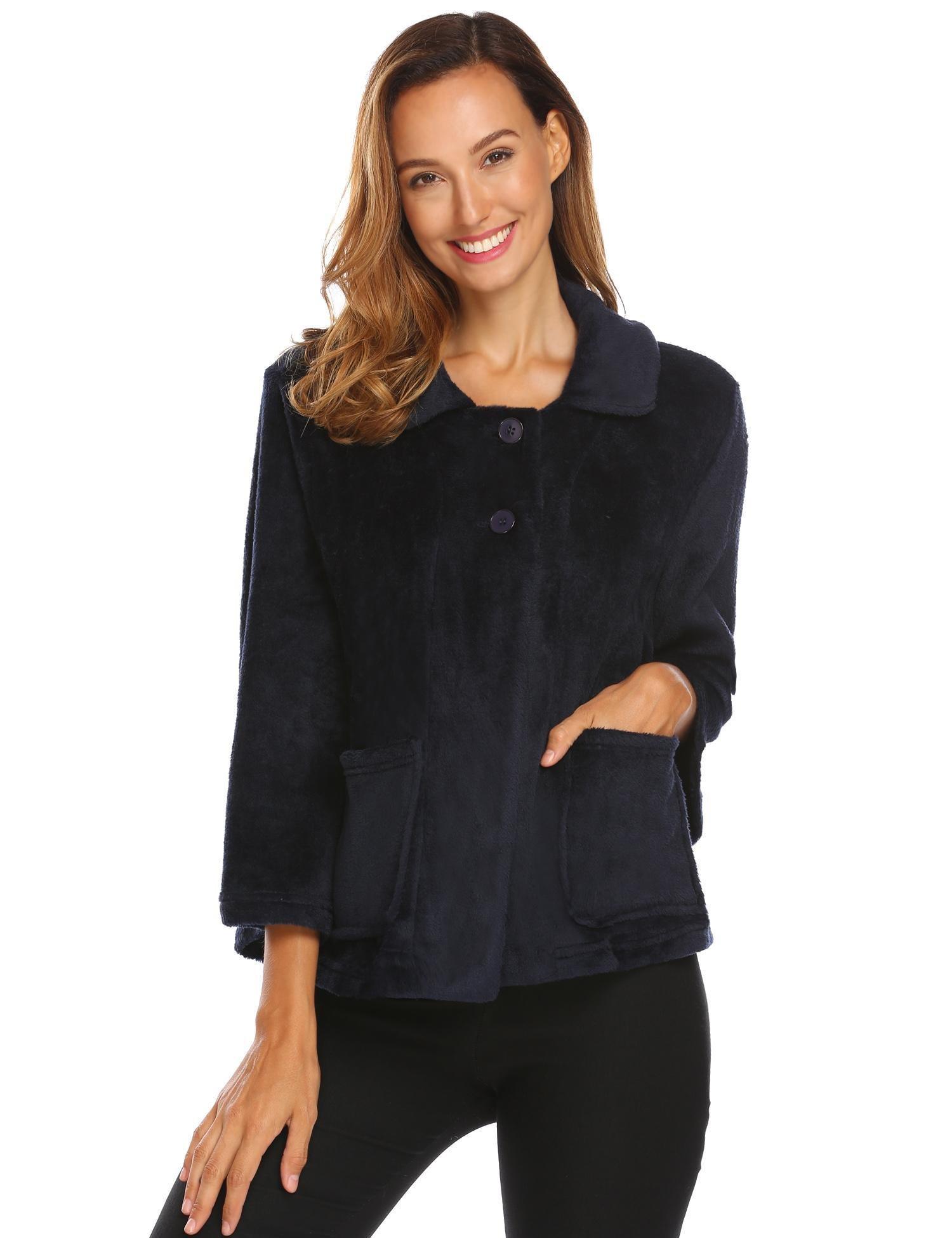 Ekouaer Sleepwear Womens Button Up Lounge Jackets Flannel Bed Coats Navy Blue Large