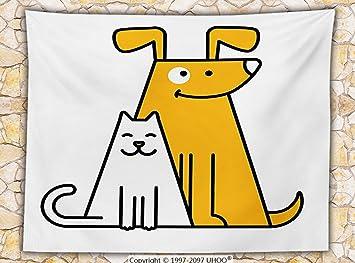 Cartoon polar manta gatos y perros humanos Best Friends Forever Kids Nursery Room Art Print Throw Negro Color Blanco y naranja: Amazon.es: Hogar