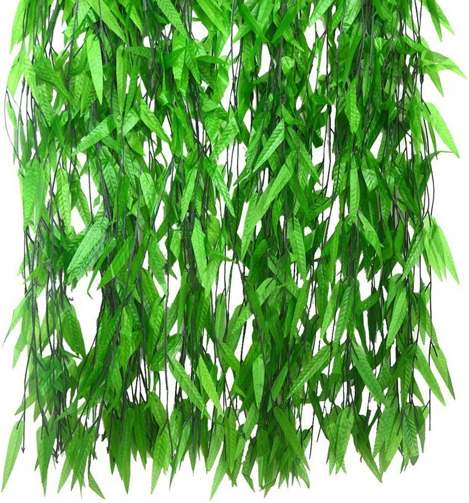 JUSTDOLIFE Artificial Vines, 50 Strands Artificial Vine Garland Willow Leaf Fake Hanging Leaves Silk Willow Rattan Wicker for Home Garden Wedding Wall Decor