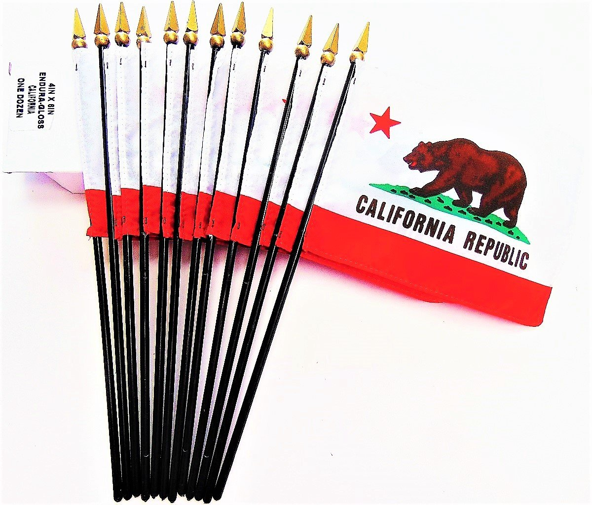 MADE IN USA!! Box of 12 California 4''x6'' Miniature Desk & Table Flags; 12 American Made Small Mini California State Flags in a Custom Made Cardboard Box Specifically Made for These Flags