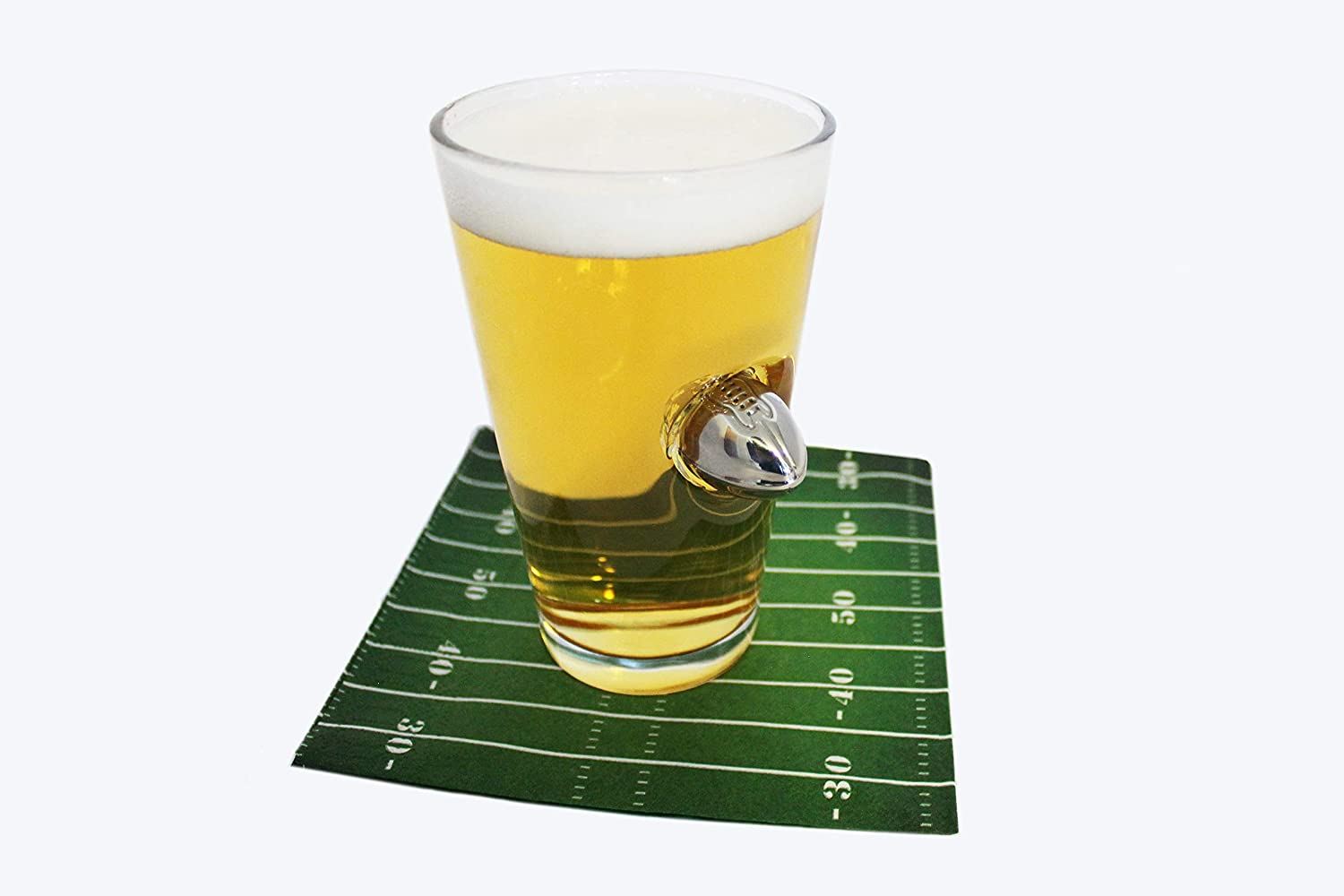 Football Pint Glass with Metal Football Crashing Through For Tailgates or Super Bowl Parties Football Beer Glass 16oz