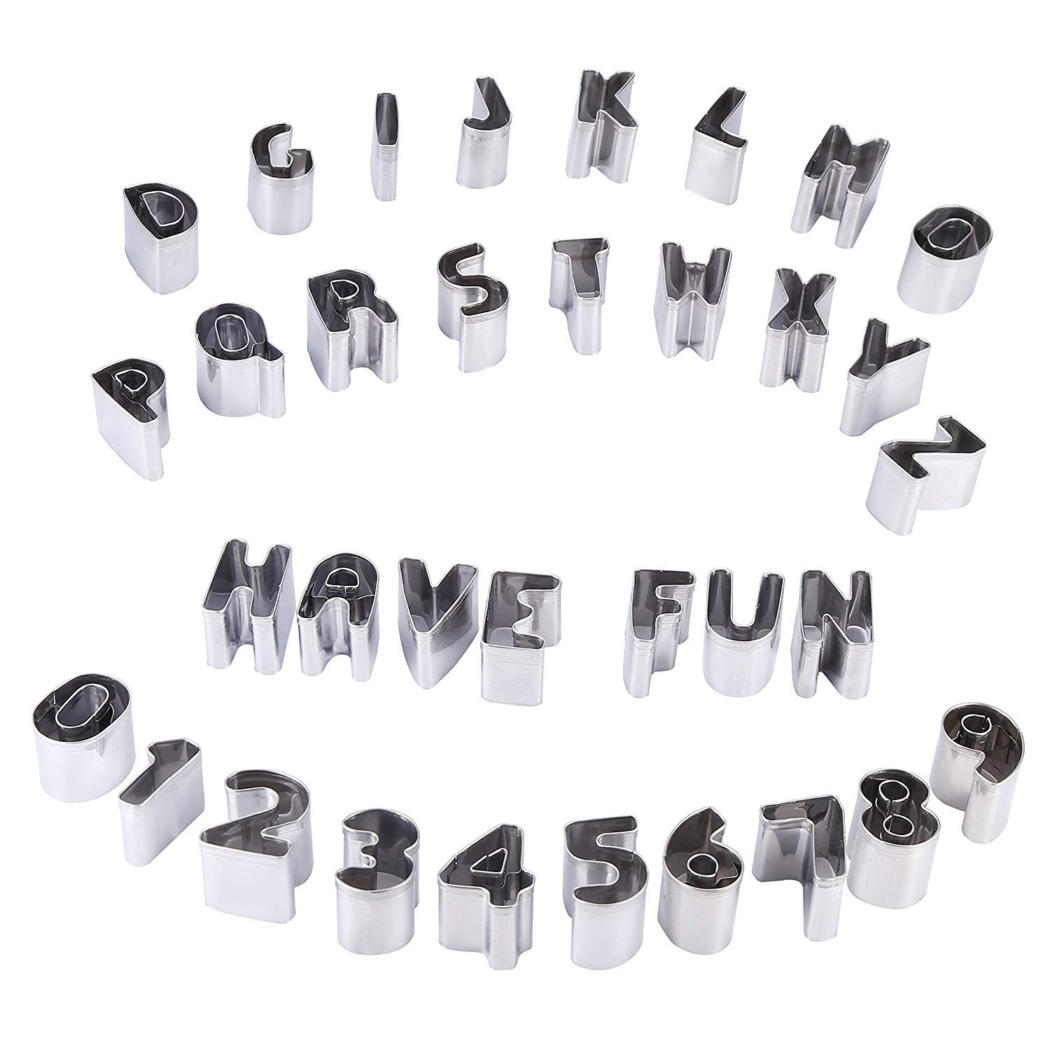 Mini Number Alphabet Cookie Cutters Set of 37 Pieces Stainless Steel Small Mold Tools for Fondant Biscuit, Cake, Fruit, Vegetables