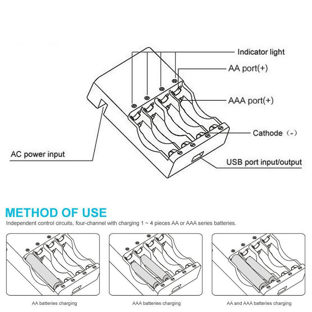 Kentli Ch4 57au 4 Slots Ports Charger For Kenlti 15v Lithium Battery Circuit Diagram Li Polymer Ion Aa Aaa Rechargeable Electronics