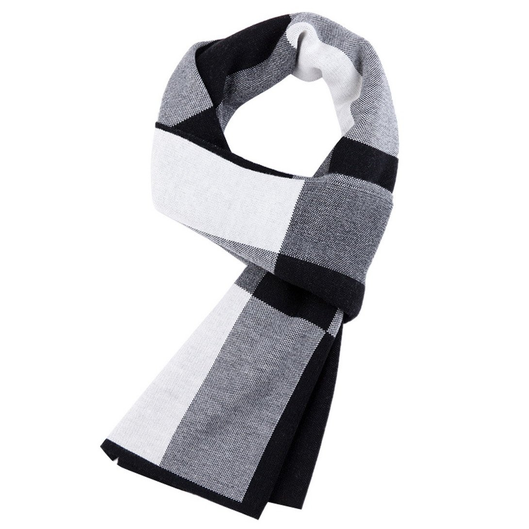 PENAGY Men Winter Warm Fashion Scarves Wool Soft Luxurious Scarf Shawl-Black& White