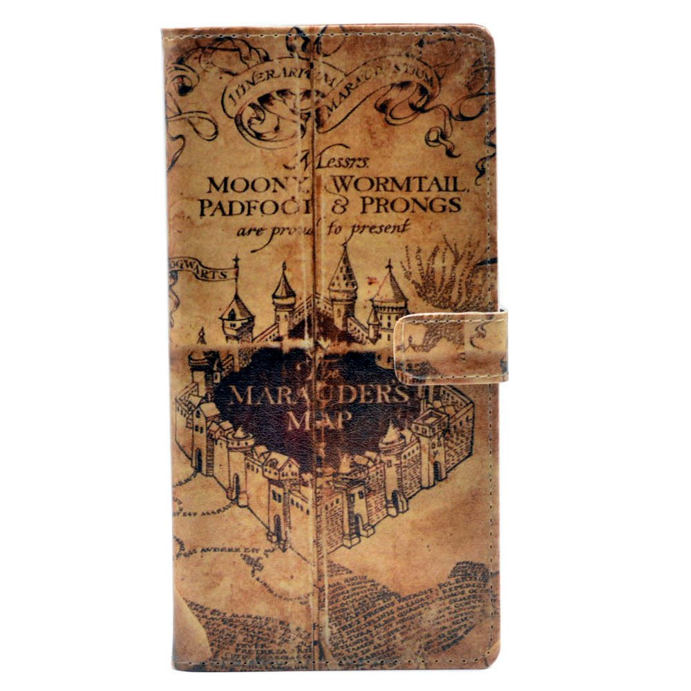 Galaxy S9 Plus Case - Hogwarts Marauder's Map Vintage Retro Pattern Leather Wallet Credit Card Holder Pouch Flip Stand Case Cover For Samsung Galaxy S9 Plus