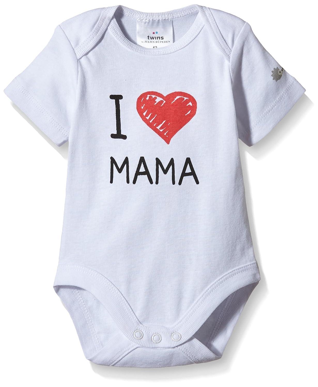 Twins Body a Manica Corta con Scritta I love Mama da Bebè Julius Hüpeden GmbH 1 011 38
