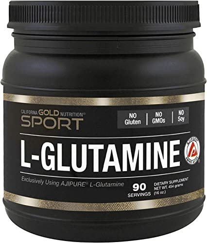 California Gold Nutrition, L-Glutamine Powder, AjiPure, 16 oz 454 g , Milk-Free, Egg-Free, Fish Free, Gluten-Free, No Artificial Colors, Soy-Free, Sugar-Free, Vegetarian, Wheat-Free, CGN