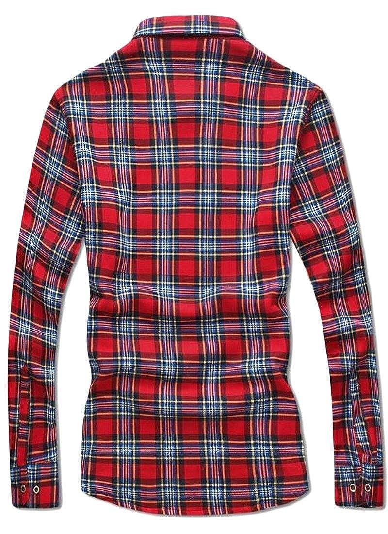 Joe Wenko Mens Thermal Fleece Plaid Button Front Long Sleeve Winter Shirts