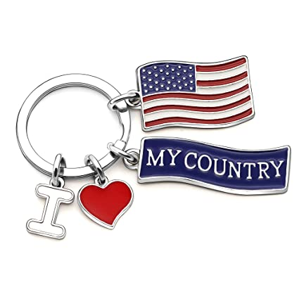 Llaveros con Texto I Love My Country America: Amazon.es ...