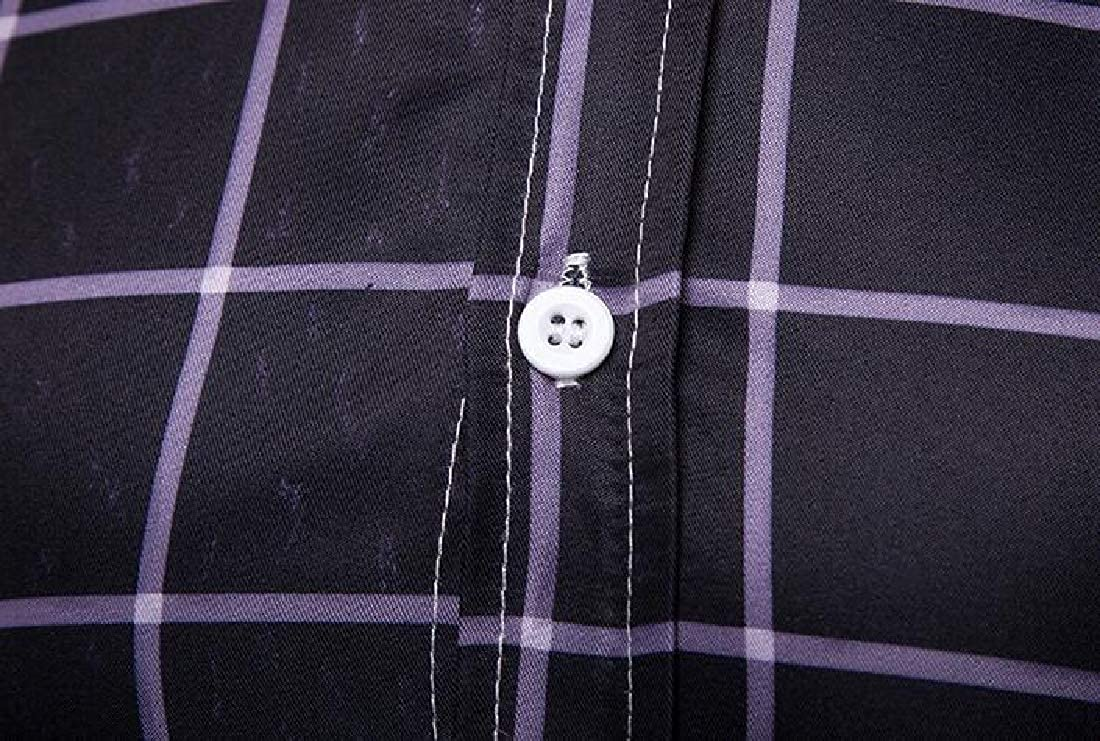 UUYUK Men Long Sleeve Plaid Print Formal Slim Button Down Dress Shirts