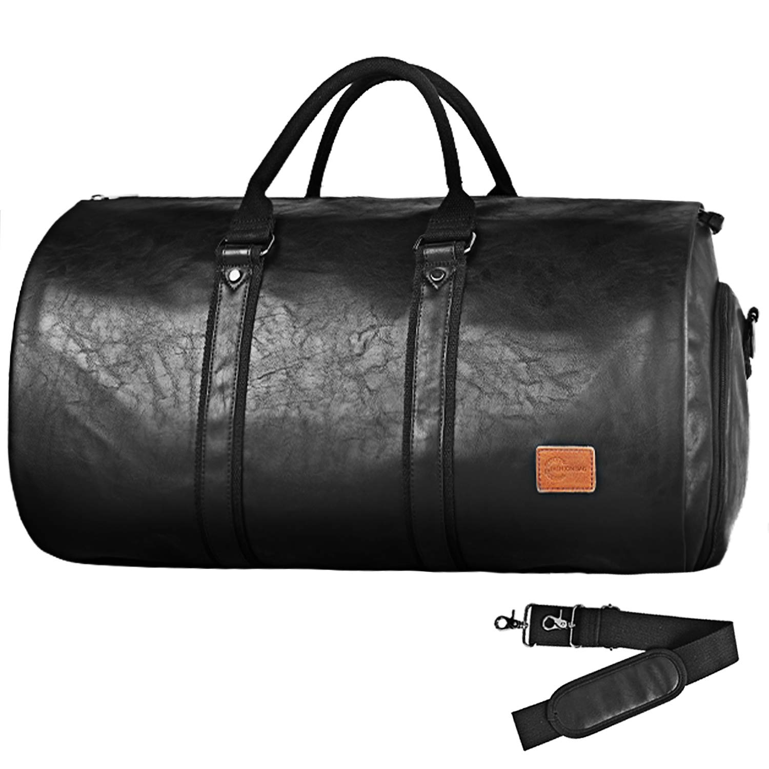 cae1158707fe Convertible Travel Garment Bag,Carry on PU Leather Garment Duffel Bag for  Men - 2 in 1 Hanging Suitcase Suit Business Travel Bag