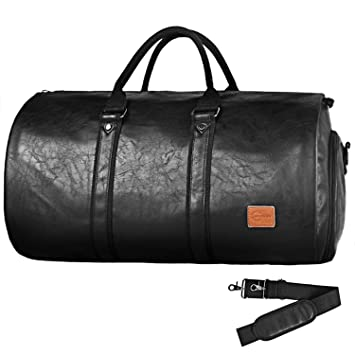 ec266a2d25f9 Convertible Travel Garment Bag,Carry on PU Leather Garment Duffel Bag for  Men - 2 in 1 Hanging Suitcase Suit Business Travel Bag