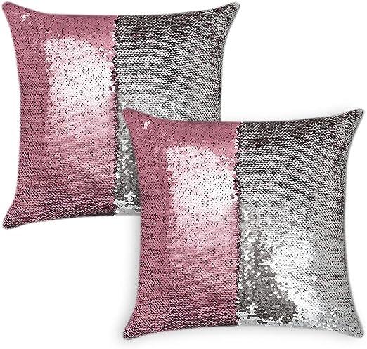 Paillette-Kissen Magischer Farbwechsel Dekokissen mit Füllung Doppel Farbig