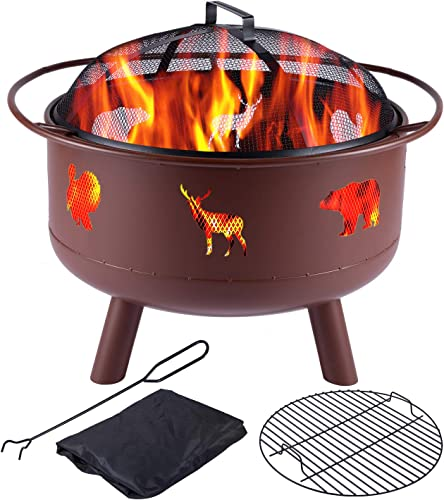 Y-ME Wood Burning Fire Pit Outdoor Patio Campfire Backyard Fireplace,Round Steel Deep Bowl Fire Pit 24 inch Red-Wildlife