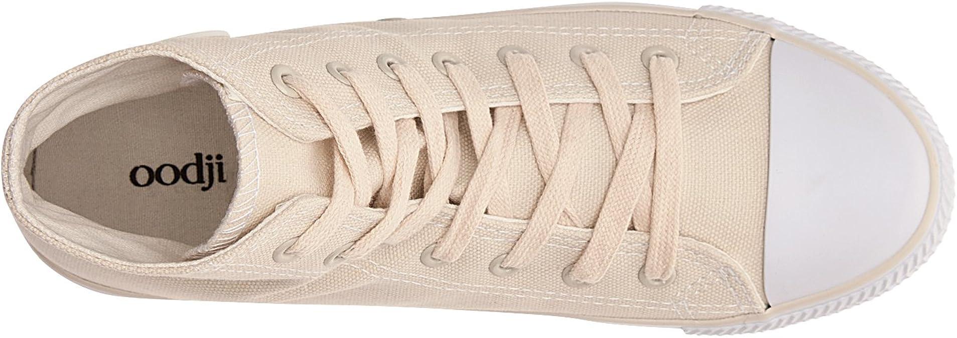 oodji Ultra Femme Baskets Montantes en Tissu de Coton