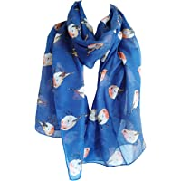 GlamLondon Women's Watercolour Robin Bird Printed Christmas Scarf