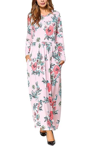 Mujer Vestidos Largos Elegantes Casual Vestido Manga Larga Vintage Estampados De Flores Vestir Invierno Otoño Cuello