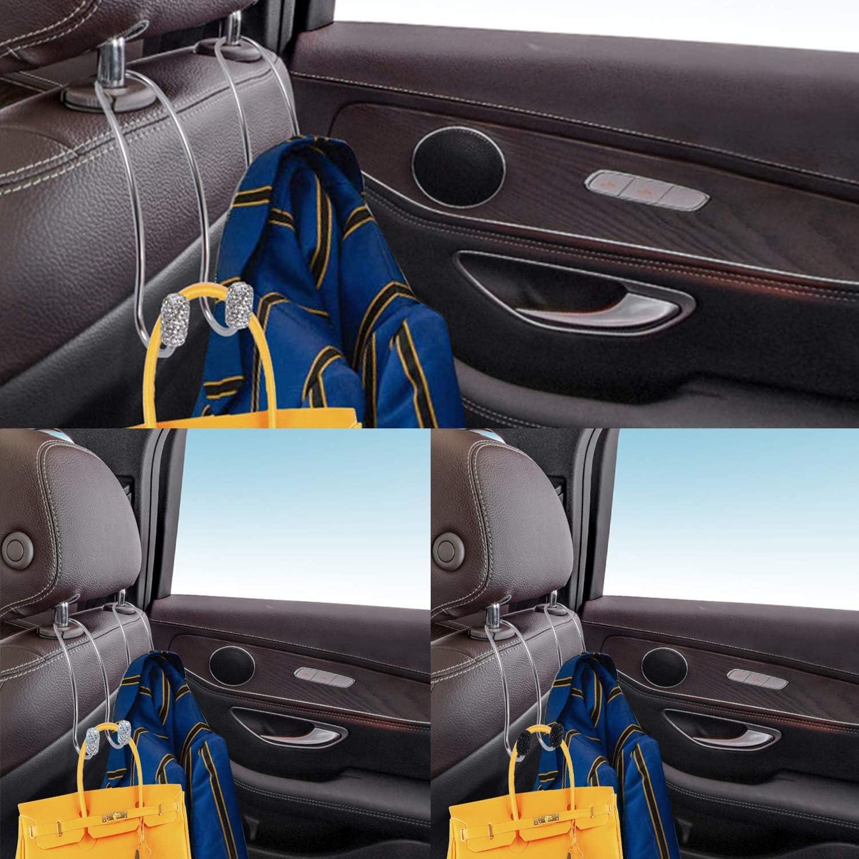 4 Pack Seat Back Organizers,Bling Diamond Universal Organizer Hooks Car Headrest Hangers Hooks for SUV Truck etc Rainbow Bag Organizers Rack and Hanger Heavy-duty Auto Backseat Storage Hooks